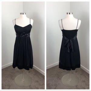 City Triangles black sequin tie dress